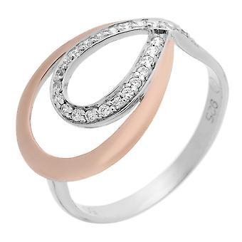 Orphelia Silver 925 Ring ZR-7092/1 zirkonium wit/Rose dubbele Drop