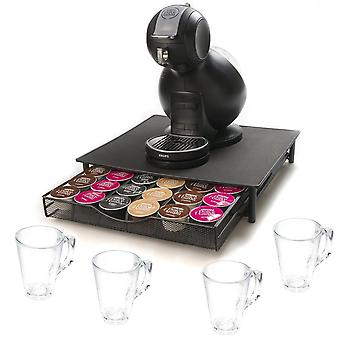 Superior Quality Dolce Gusto Compatible 36 Coffee Capsule Drawer Black + 4 Coffee Glasses