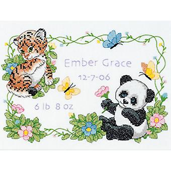Baby Hugs Baby Animals Birth Record Stamped Cross Stitch Kit-12