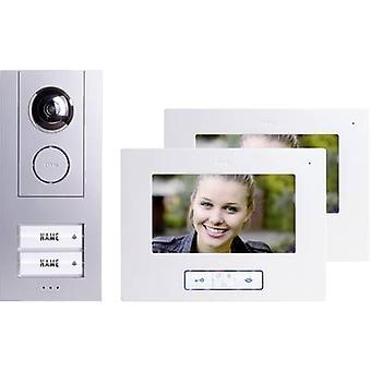 m-e moderne-Electronique Vistus VD 6720 vidéo porte interphone kit complet de fil supplémentaire argent, blanc