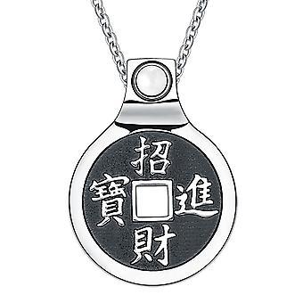 Feng Shui Lucky Coin Amulet Kanji Magic Fortune beføjelser unikke charme hvid Cats Eye halskæde