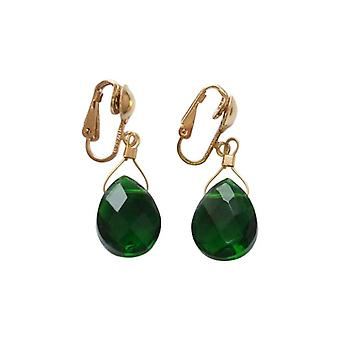 Gemshine - ladies - earrings - earrings gold plated-tourmaline quartz - dripping - faceted 2 cm - Green-