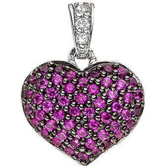 Амулеты, сердце розовое сердце кулон серебро Кулон стерлингового серебра 925 пробы с фианитом