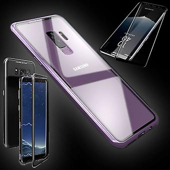 For Samsung Galaxy S9 plus magnet / metal / glass pouch case pink / transparent + 0.3 4 d curved H9 hard glass
