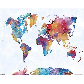 Watercolor Map Kunstdruck Michael Tompsett 200 gr. Papier Kleinformat