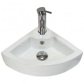 Garda Ceramic Corner Bathroom Sink, Tap & Plug