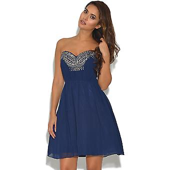 Little Mistress Navy Embellished Prom Dress