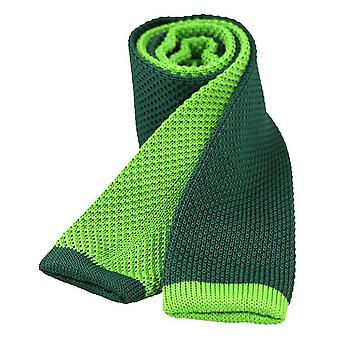 David Van Hagen Two Tone Knitted Thin Tie - Green/Lime