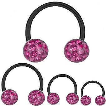 Circulaire Barbell Horseshoe zwarte Titanium 1,2 mm, Multi Crystal Ball roze | 6-12