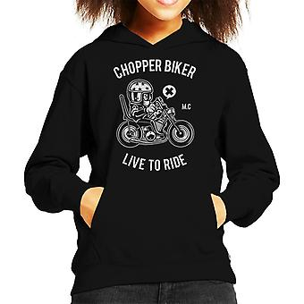 Chopper Biker Live To Ride Kid's Hooded Sweatshirt