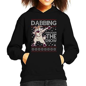 Dabbing Through The Snow Goat Christmas Knit Pattern Kid's Hooded Sweatshirt