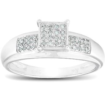 1 / 4ct Princess Cut Diamond Engagement bane Ring Solid 10K hvidguld