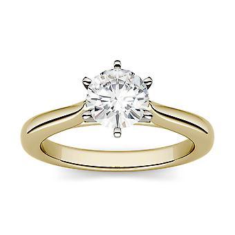 14K żółty złoto Moissanite przez Charles idealna Colvard 7,5 mm 6 Prong Solitaire pierścień, 1,50 ct rosy