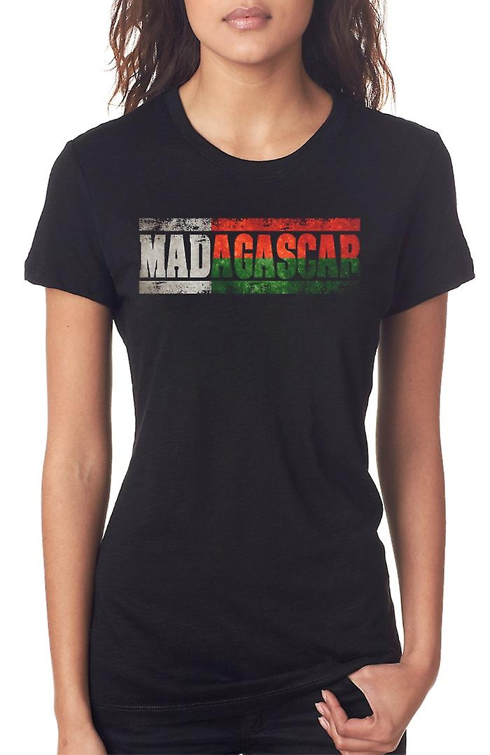 Madagascar_ bandera - palabras las señoras T Shirt