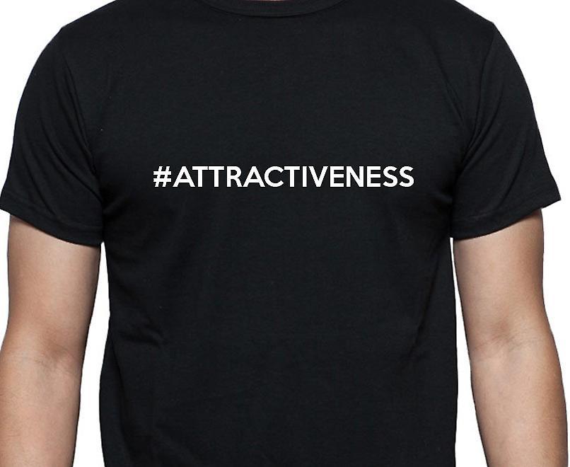 #Attractiveness Hashag Attractiveness Black Hand Printed T shirt