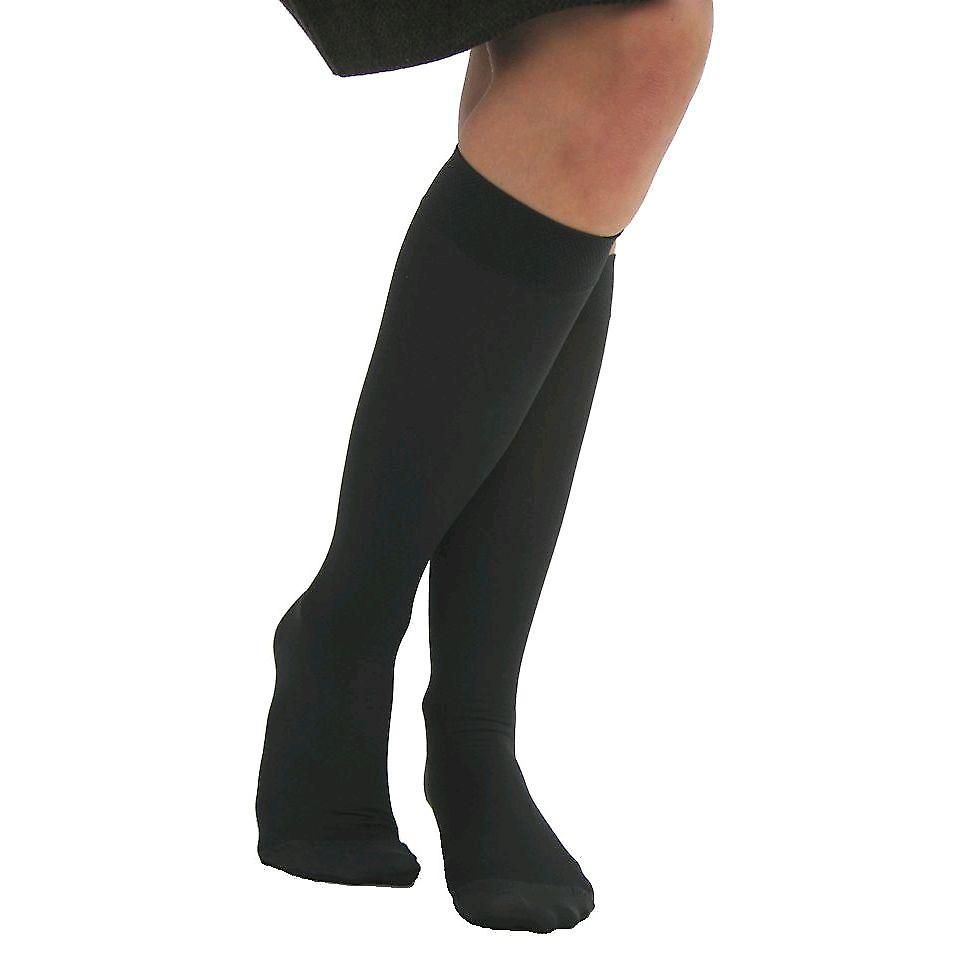 Pebble UK Microfibre Opaque Compression Knee Highs [Style P211] Black  XL