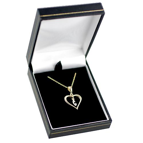 9ct Gold 18x18mm initial C in a heart with Cable link chain