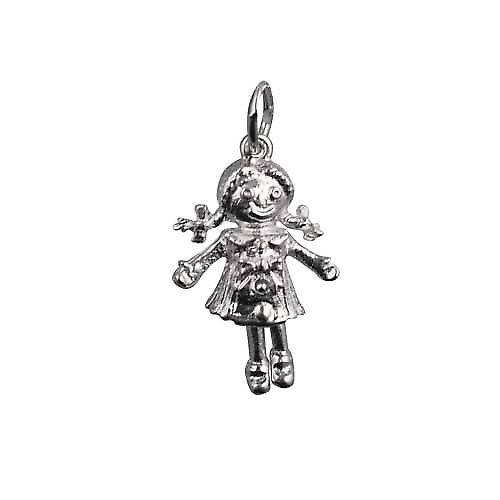 Silver 19x13mm moveable Rag doll Pendant or Charm