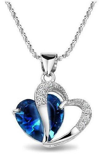 Rhodium Diamond Accent Heart Shape Pendant Necklace Blue Sapphire