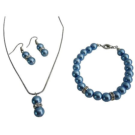 Inexpensive High Quality Blue Pearls Complete Jewelry