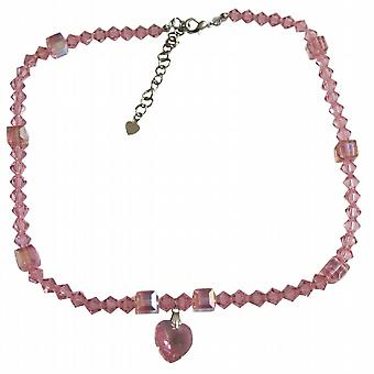 Rose Pink Swarovski w/ AB Rose Pink Crystals Heart Pendant Necklace