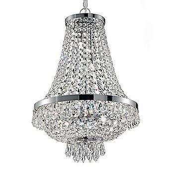 Idealne Lux - Cezar Chrome i Crystal dziewięć Light Świecznik IDL041827