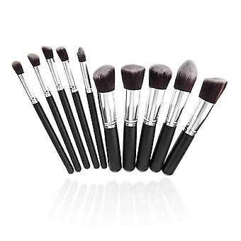 10 Make Up Brushes Set for Foundation Blending Blush Eyeliner Face Powder - Synthetic Hair Aluminium Ferrule Natural Wood Handle