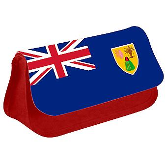 Turks and Caicos Islands Flag Printed Design Pencil Case for Stationary/Cosmetic - 0234 (Red) by i-Tronixs