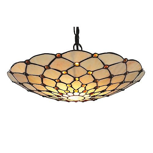 Searchlight 1468BR Tiffany Non Electric Tiffany Pendant Shade Only Cream Brown Drops