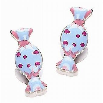 TOC Girls Sterling Silver Blue & Pink Sweets Stud Earrings