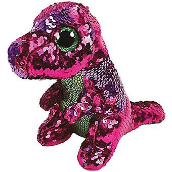Ty - Beanie Boos  Flippables Stompy Dinosaur Sequin Pink/Purple Soft Toy