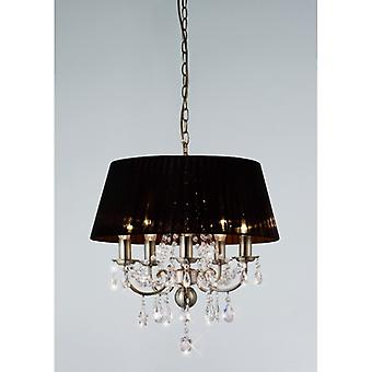 Olivia Pendant With Black Shade 5 Light Antique Brass/crystal