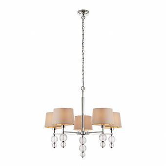 5 Light Multi Arm Ceiling Pendant Chandelier Nickel poli