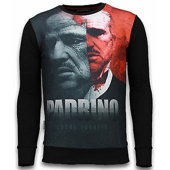 El Padrino Two Faced-Digital Rhinestone Sweatshirt-Black