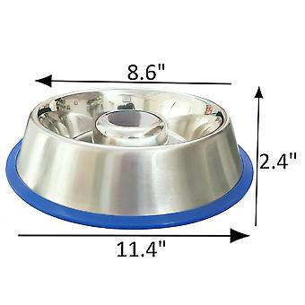 Slow feed anti bloat bowl - stainless steel