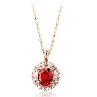 18K Gold Plated Sparkling Red Cubic Zircoina Pendant