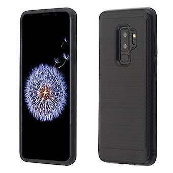 ASMYNA Black/Black Brushed Hybrid Protector Cover (with Carbon Fiber Accent) for Galaxy S9 Plus