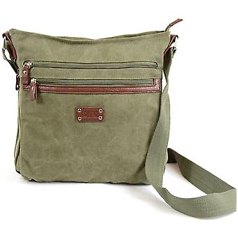 Genuine Canvas Shoulder / Messenger / Cross Body Work Bag ( Olive Green )