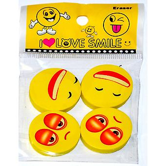Smiley Erasers 9 Packs of 4 rubbers party bag filler, Childrens stationary