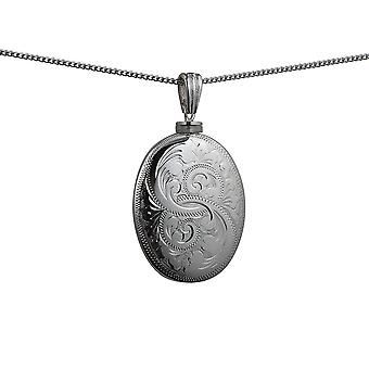 Silver 35x26mm handmade hand engraved oval Memorial Locket with a curb Chain 24 inches