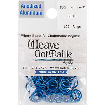 Anodized Aluminum Jumprings 6mm 100/Pkg-Blue HPAA18A6-LAPIS