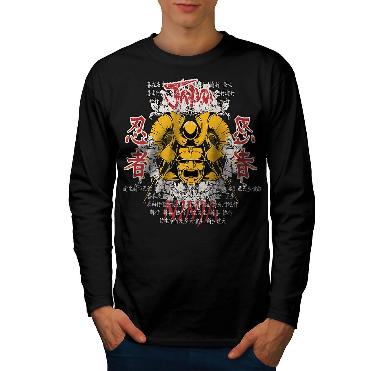 Japan Warrior Mask Ninja Face Men Black Long Sleeve T-shirt | Wellcoda