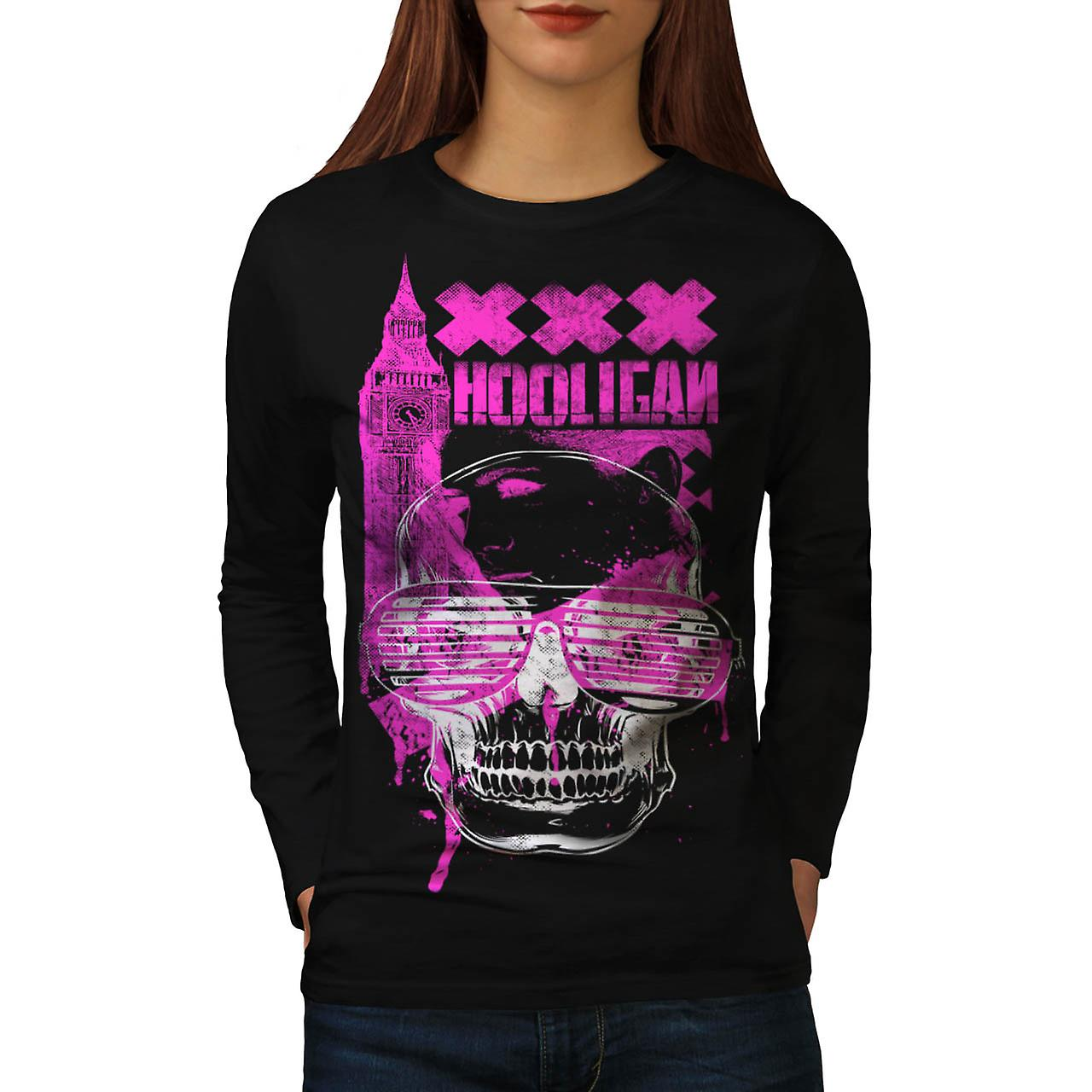 UK Hooligan Dead Gangster Women Black Long Sleeve T-shirt | Wellcoda