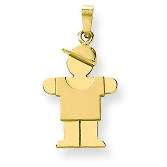 14k Gold Solid Engraveable Boy With Hat on Right Charm - 1.5 Grams