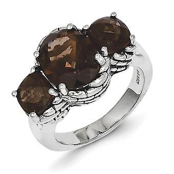 Polished Prong set Antique finish Smokey Quartz Ring - Ring Size: 6 to 8