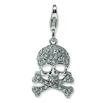 Sterling Silver Polished Rhodium-plated Fancy Lobster Closure Cubic Zirconia Skull and Cross Bones With Lobster Clasp Ch