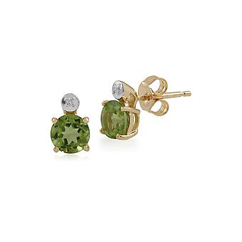 Gemondo 9ct Yellow Gold 1.06ct Peridot & Diamond Round Stud Earrings