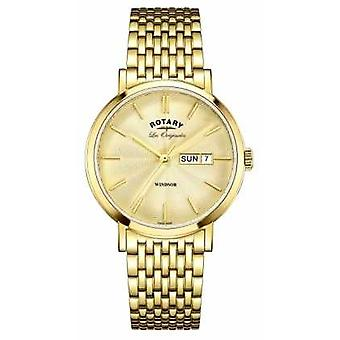 Rotary Mens Windsor Gold Plated Strap GB90156/03 Watch