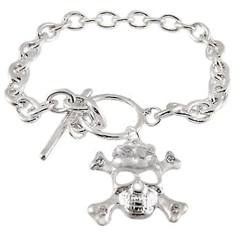 Chrome Link Toggle Bracelet - Dangling Skull Crossbones