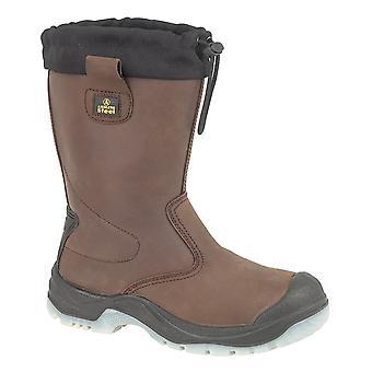 Gibt Stahl FS219 Mens Sicherheit ziehen am Rigger Stiefel Textil Leder Slip auf